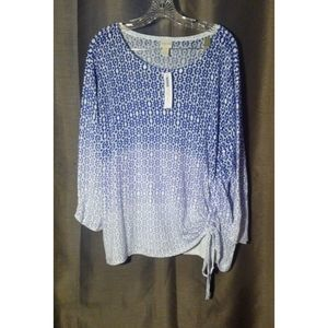 NWT Chicos Blue White Ombre Side Ruched Knit  XL